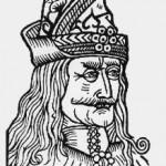 Ağaçbaskı, Vlad Dracula tasviri. Almanya'da Nuremberg'te 1488'de yayınlanan tek sayfalık bir broşürden. Belgenin ismi Die geschicht dracole waide yani Voyvoda Dracula'nın Tarihi