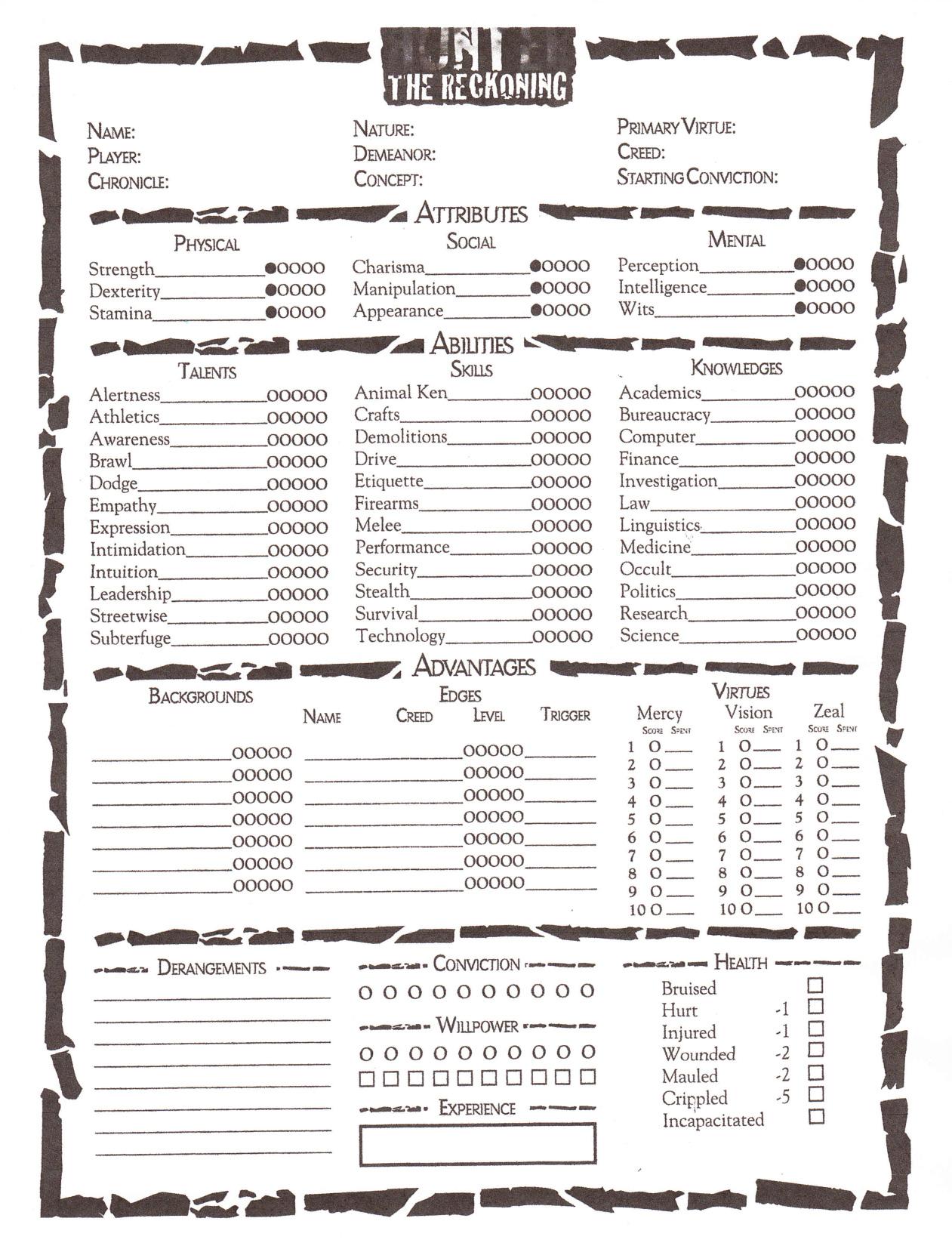 hunter-character-sheet