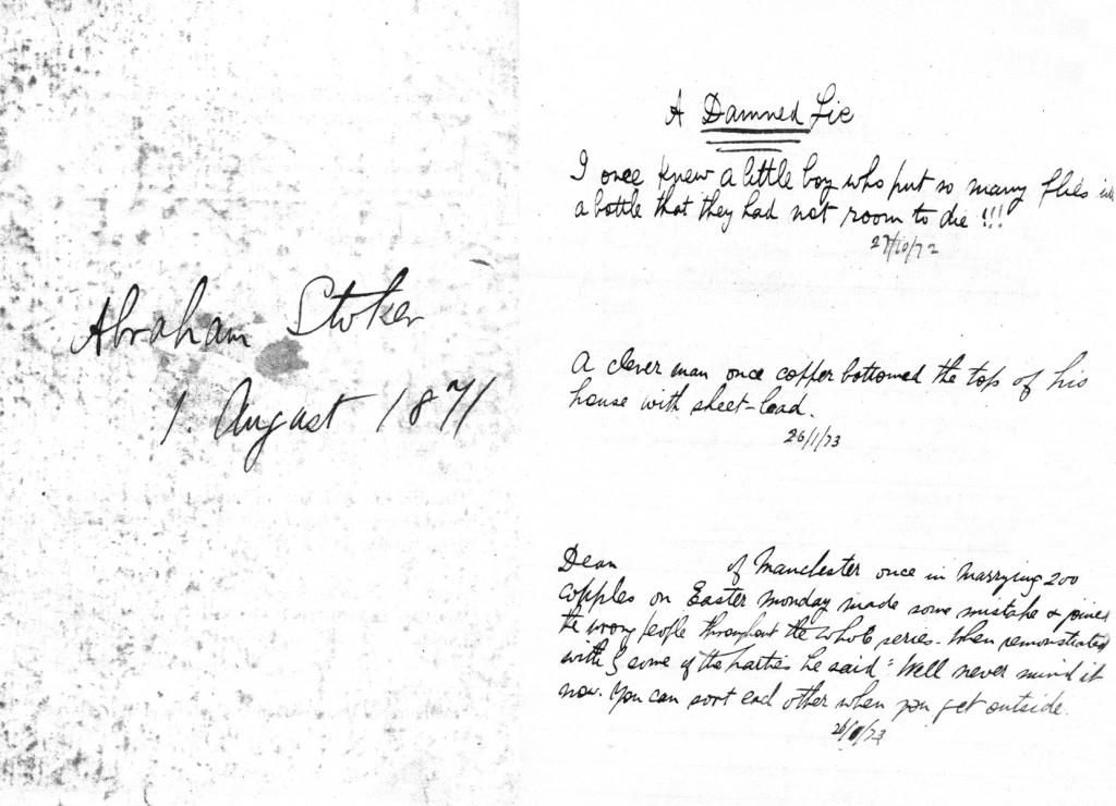 Bram Stoker'ın Kayıp Günlüğü'nün ilk sayfası