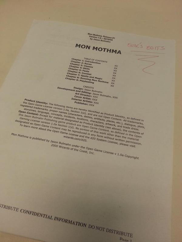 Mon Mothma kod adıyla ortaya çıkan ilk Pathfinder taslağı