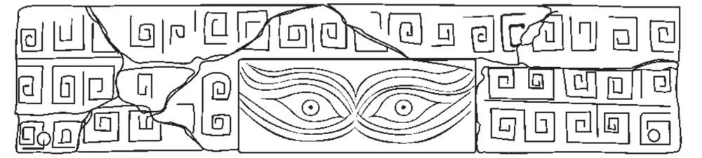 Oyun tahtasına ait yeniden oluşturulan parça, bulut ve yıldırım şekilleri ile çevrelenen 2 göz ile süslenmiş. Fotoğraf: Chinese Cultural Relics