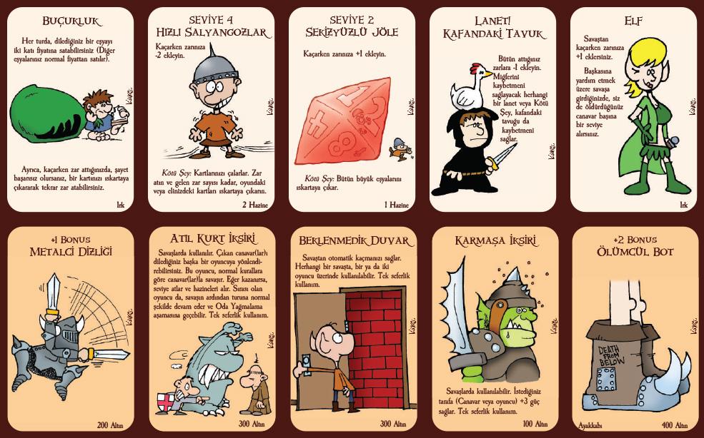 Türkçe Munchkin kartları