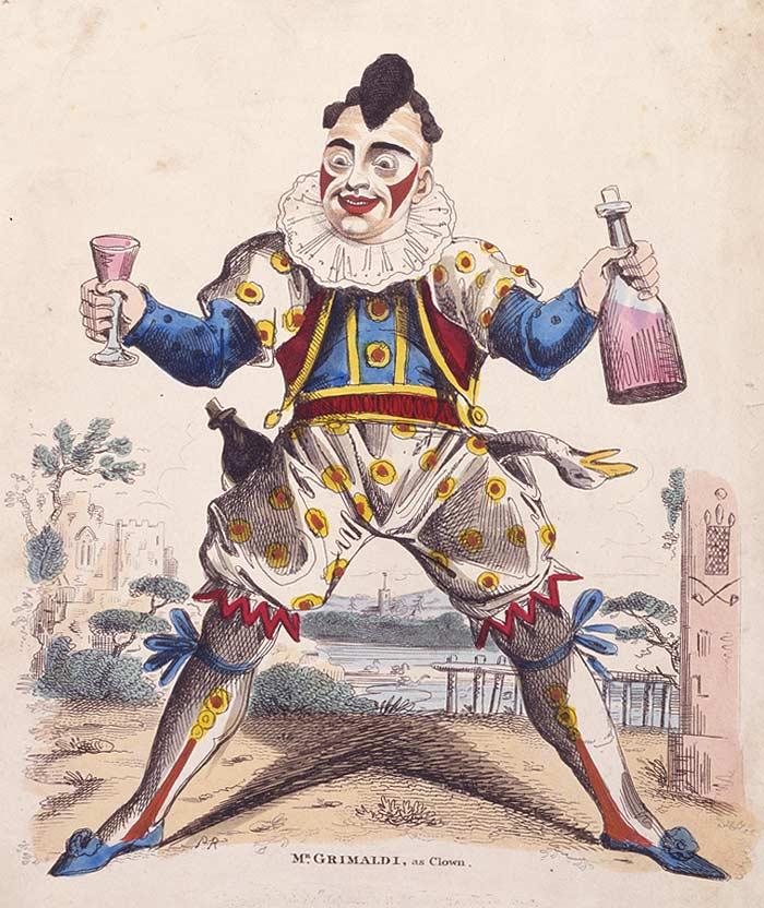 Joseph Grimaldi tarafından 1810 yılında çizilmiş bir Harlequin tiplemesi.