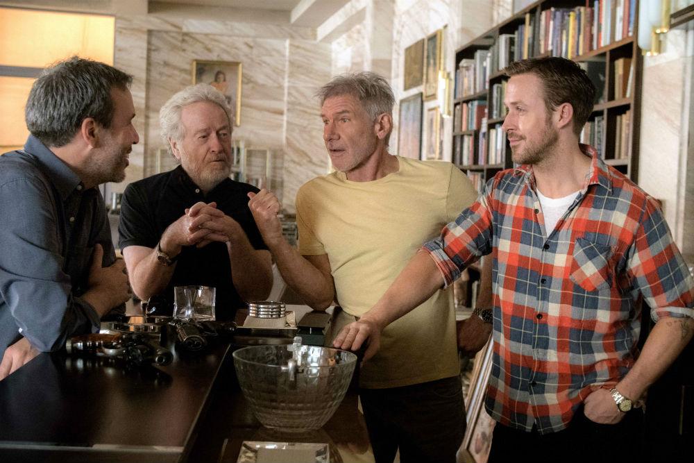 Soldan sağa: Denis Villeneuve, Ridley Scott, Harrison Ford, Ryan Gosling