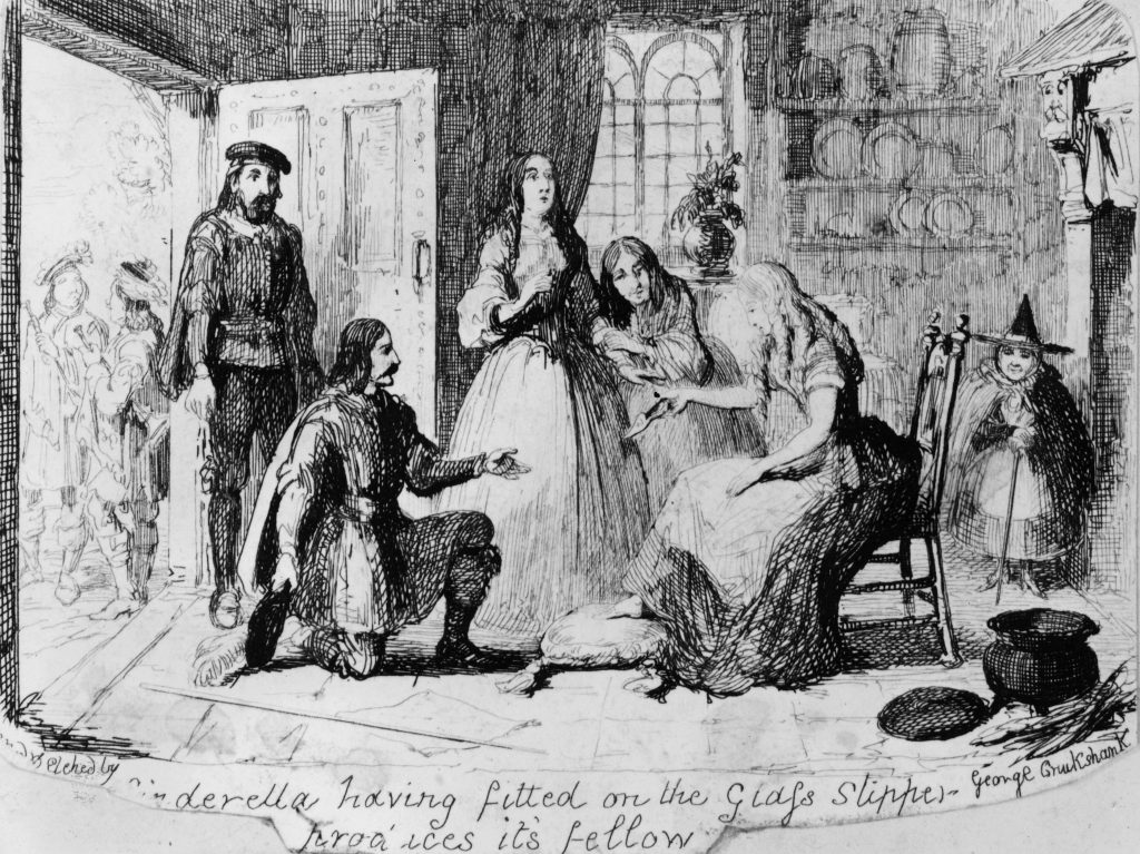 circa 1830: Cinderella, having tried on the glass slipper, produces its fellow. Etching by George Cruikshank as an illustration for Grimm's 'Aschenputtel'. (Photo by Hulton Archive/Getty Images)
